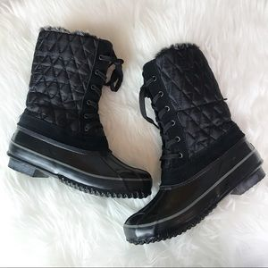Khombu Mid-calf Quilted Snow Boots Black Size 6